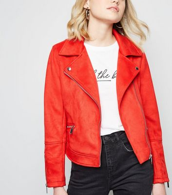 Red Suedette Biker Jacket