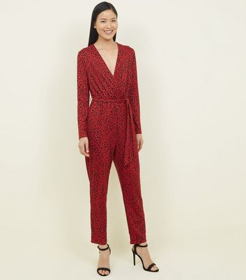 Red Leopard Print Wrap Front Jumpsuit