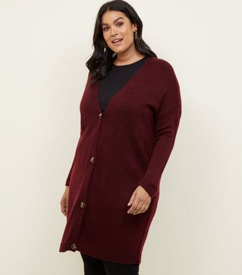 Curves Burgundy Knitted Longline Cardigan