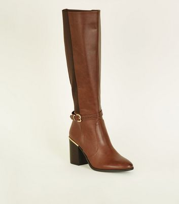 Tan Buckle Side Block Heel Knee High Boots