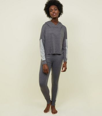 Dark Grey Ribbed Sleeve Panel Pyjama Hoodie by New Look