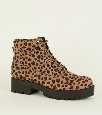 Brown Animal Print Chunky Lace Up Boots