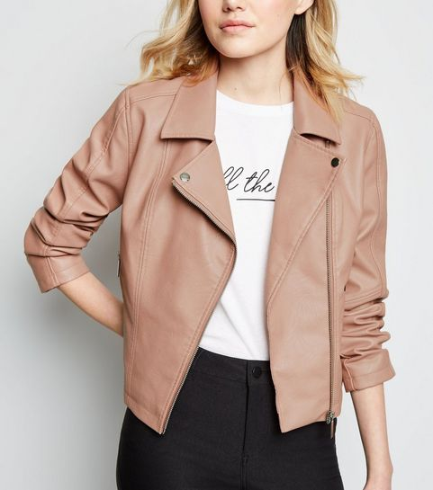 9590557086413 ... Pink Leather-Look Biker Jacket ...