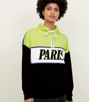 Black Neon Paris  Colour Block Oversized Hoodie