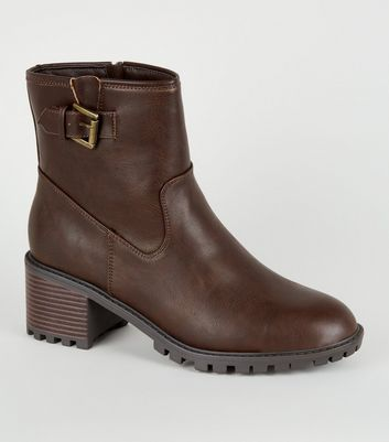 Brown Buckle Strap Chunky Biker Boots