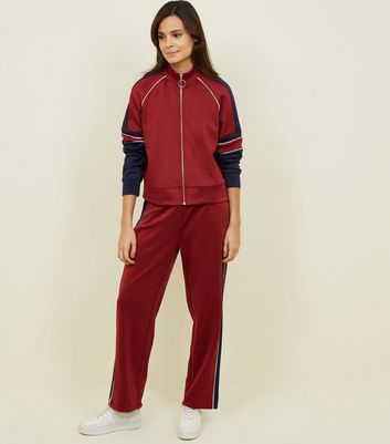 Burgundy Piped Stripe High Shine Joggers