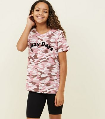 Girls Pink Camo Print Lazy Days Pyjama Set