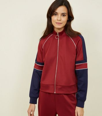Burgundy Piped Stripe High Shine Jacket