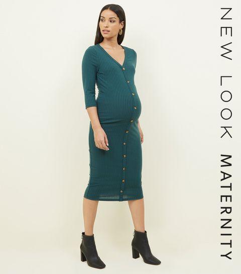 maternity dark green button through midi dress - Christmas Maternity Dress