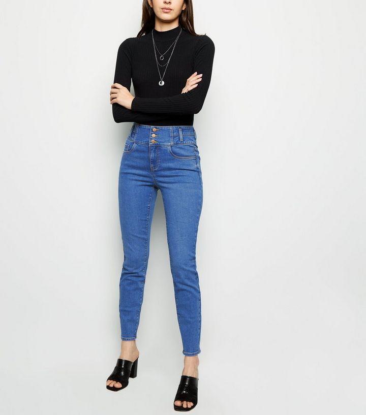 79dd3bb54432 Jean skinny Jazmin bleu vif taille haute