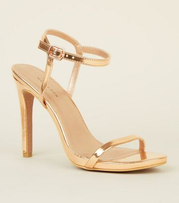 Rose Gold Glitter Sole Barely There Stilettos