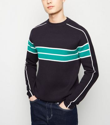 Blue Colour Block Crew Neck Jumper