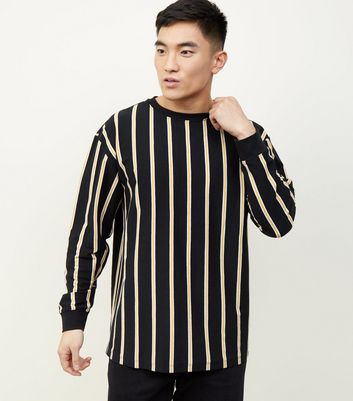 Black and Mustard Vertical Stripe Long Sleeve T-Shirt