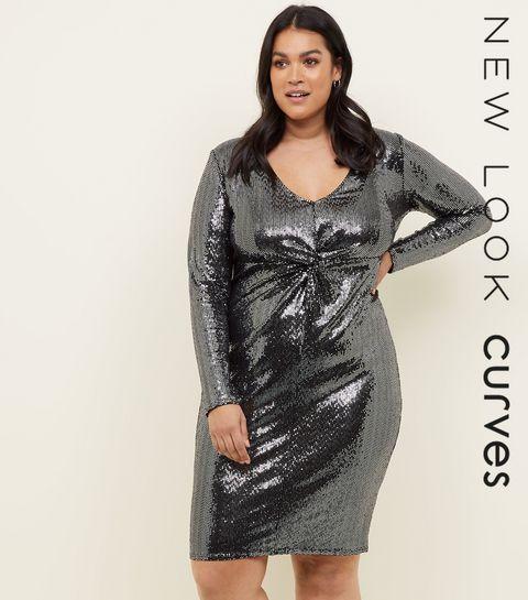 ed6f854ca0e45 ... Curves Silver Mirrored Sequin Twist Front Dress ...