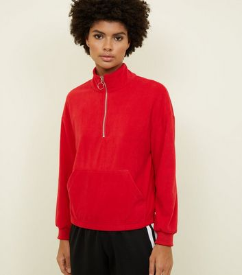 Red Half Zip Front Fleece Sweatshirt