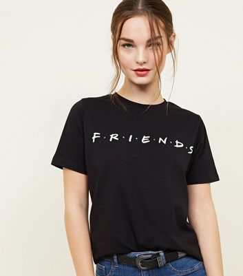 Petite Black Friends Slogan T-Shirt