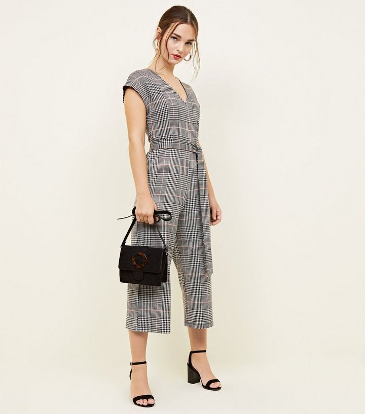 83931e52ac37 Petite Light Grey Check Jersey Jumpsuit