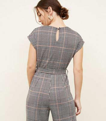 6cb253430be0 Petite Light Grey Check Jersey Jumpsuit New Look