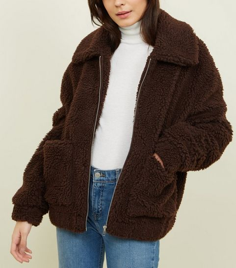 82857bd80b2 ... Dark Brown Teddy Borg Pocket Front Jacket ...