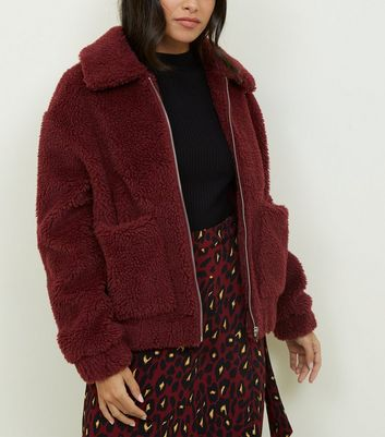 Burgundy Teddy Borg Pocket Front Jacket