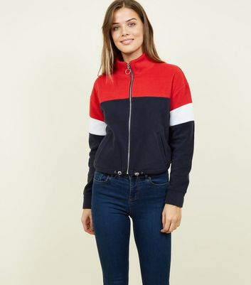 Blue Colour Block Fleece Jacket