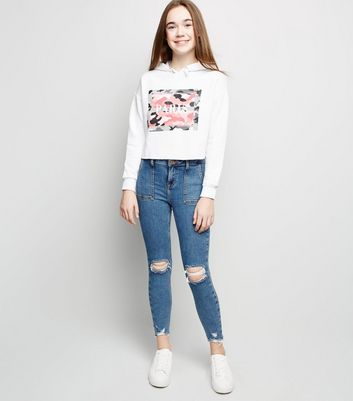 Girls Pale Blue Utility Pocket Ripped Skinny Jeans