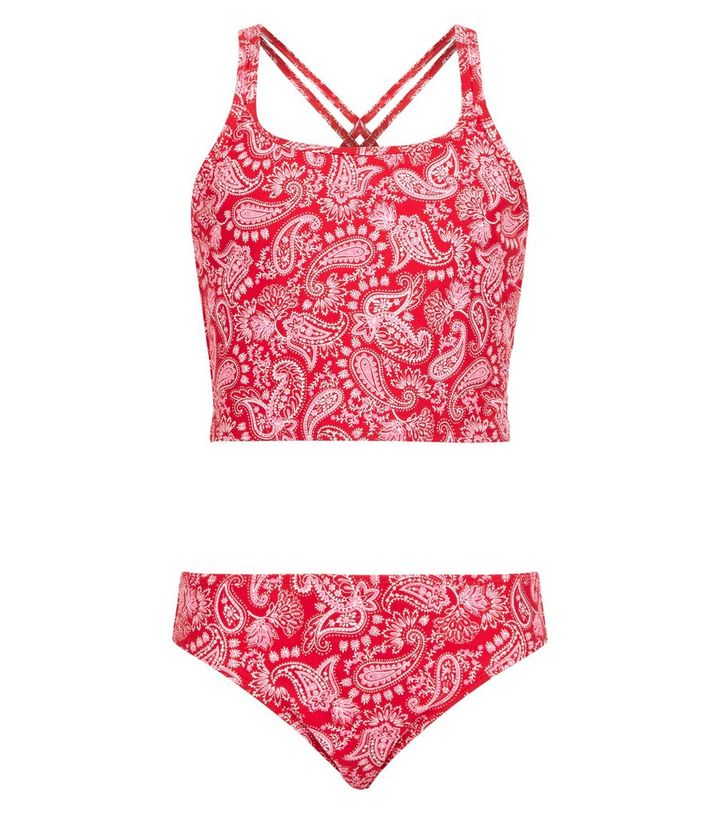 2b7a87690e2e1 Girls Red Paisley Elastic Tankini Set