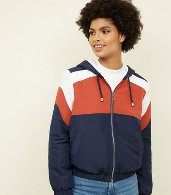 Rust Colour Block Fleece Lined Windbreaker