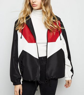 Veste coupe-vent noire color block