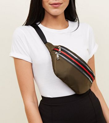 Khaki Tape Stripe Trim Bum Bag