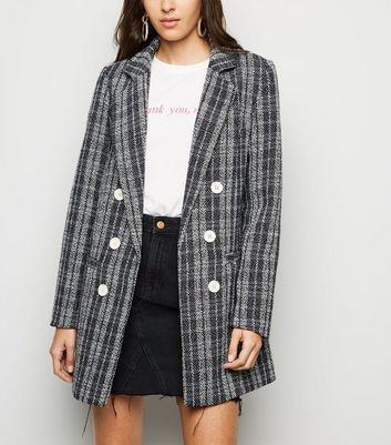 Black Bouclé Check Button Front Coat