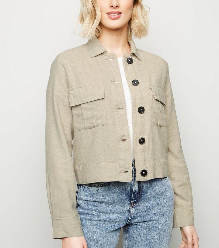 35904d5a3e2d Stone Linen Look Crop Utility Jacket