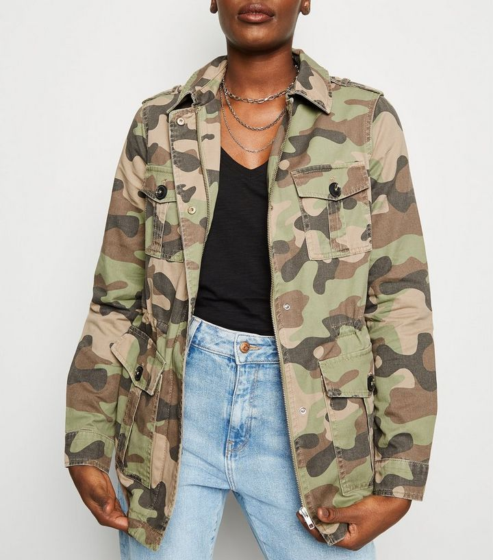bede6a9bf Olive Green Camo Print Utility Jacket Add to Saved Items Remove from Saved  Items