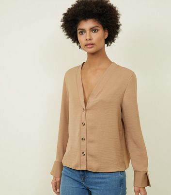 Tall Camel Long Sleeve V-Neck Shirt