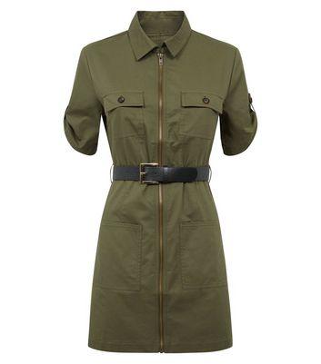 Cameo Rose Khaki Zip Front Utility Dress New Look