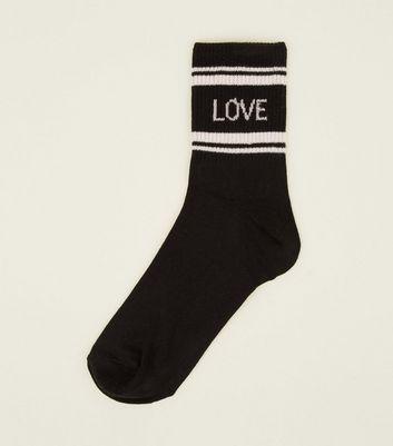 1 Pack Stripe Ribbed Love Slogan Socks New Look