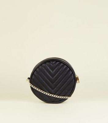 Black Chevron Quilted Round Cross Body Bag