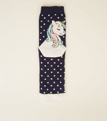 Navy Polka Dot Unicorn Socks