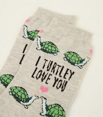 1 Pack Grey I Turtley Love You Socks New Look
