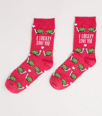 Pink I Turtley Love You Slogan Socks
