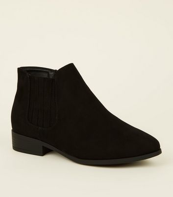 Wide Fit Black Suedette Flat Chelsea Boots