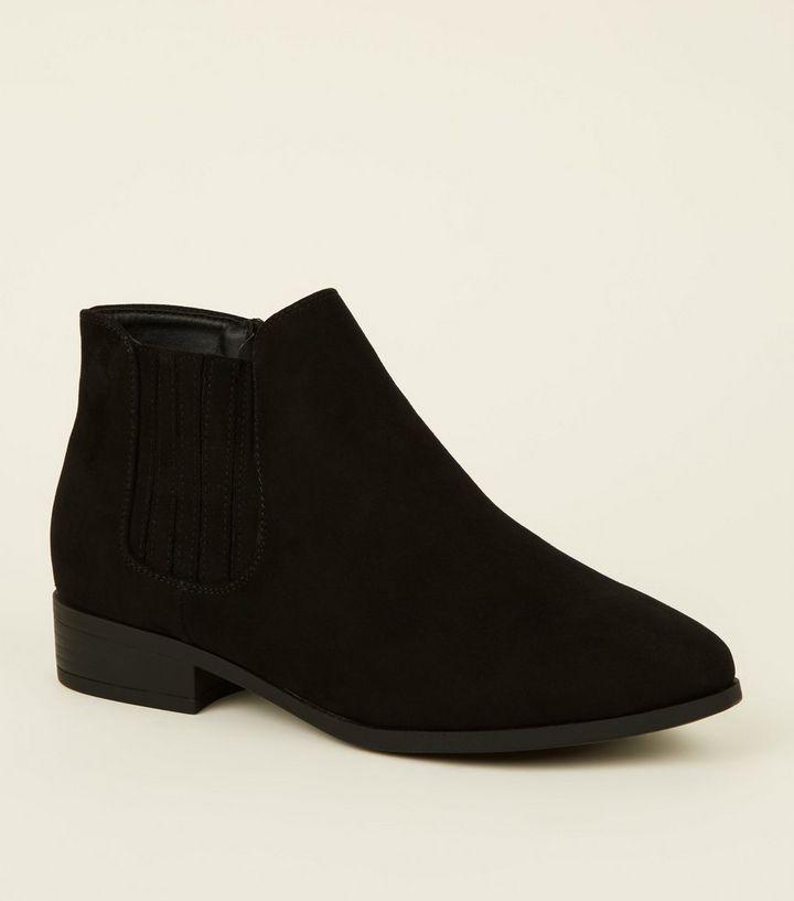 0f4af403c68c Wide Fit Black Suedette Flat Chelsea Boots