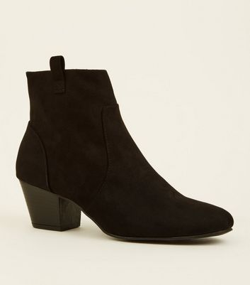 Black Suedette Heeled Western Ankle Boot