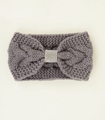 Dark Grey Knit Diamanté Front Headband