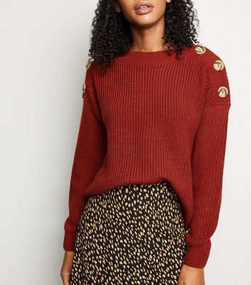 Rust Faux Horn Button Shoulder Jumper