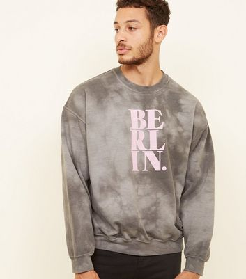 Grey Acid Wash Berlin Slogan Sweatshirt