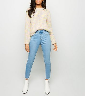 Petite Pale Blue Bleach Washed Emilee Jeggings