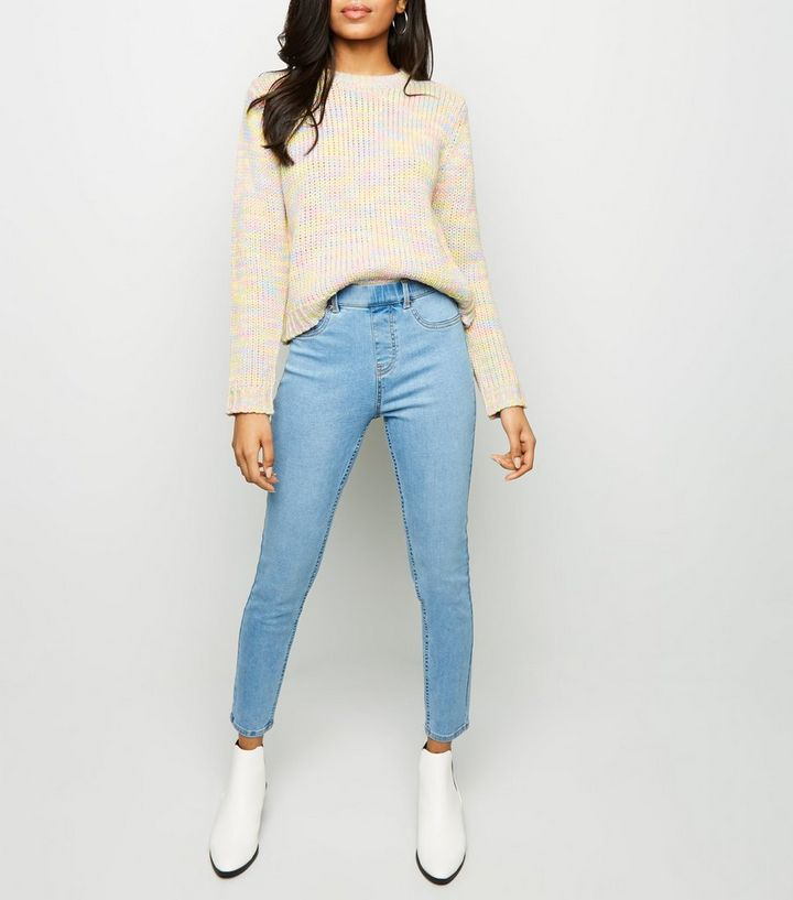 1f9c30f7a3d140 Petite Pale Blue Bleach Washed Emilee Jeggings | New Look