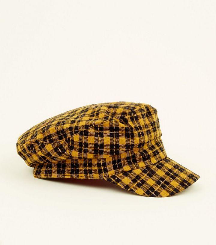 bdae99de7d0 Yellow Check Baker Boy Hat