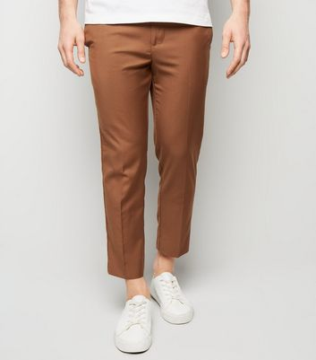 Light Brown Pull On Slim Fit Trousers